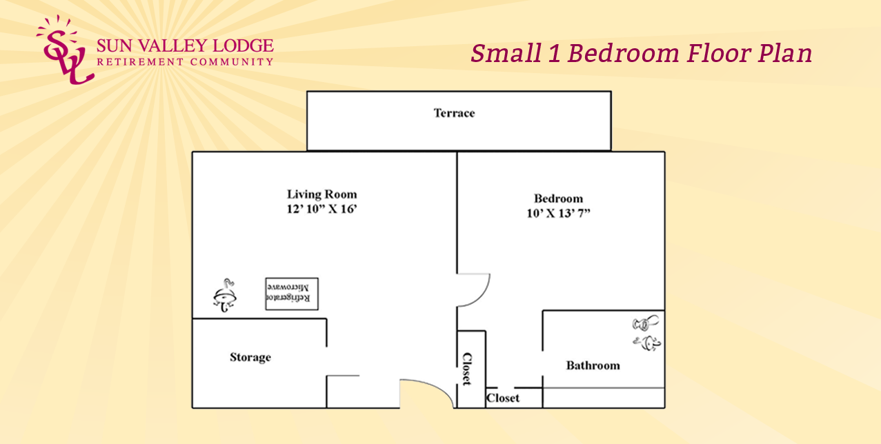 Small 1 Bedroom - 451 sq. ft.