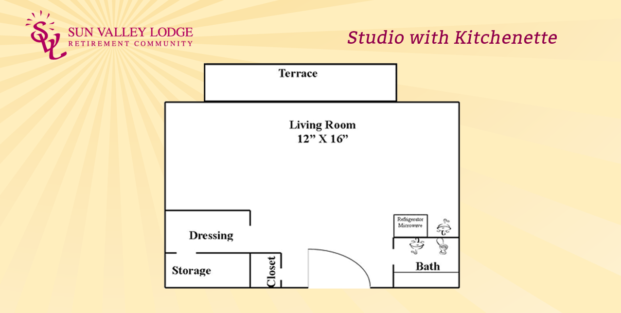Studio with Kitchenette - 325 sq. ft.