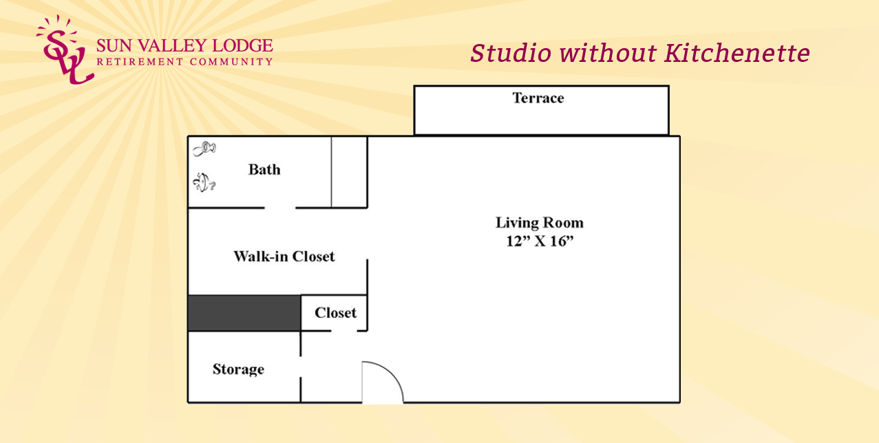 Studio without Kitchenette - 330 sq. ft.
